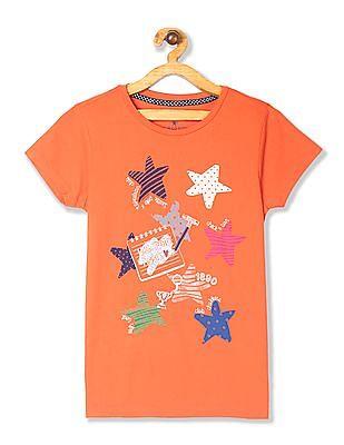 U.S. Polo Assn. Kids Orange Girls Round Neck Graphic T-Shirt