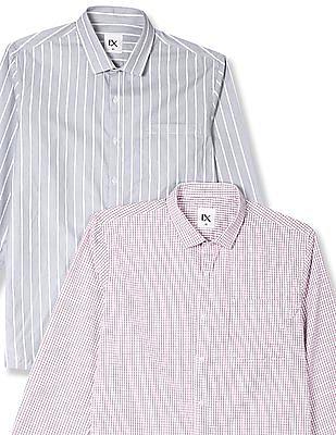 Excalibur Assorted Semi Cutaway Collar Long Sleeve Shirt - Pack Of 2
