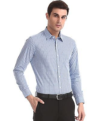 Excalibur Blue Rounded Cuff Check Shirt