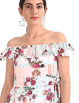 SUGR Printed Off Shoulder Fit And Flare Dress