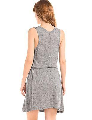 GAP Women Grey Linen Cotton Tie Dress