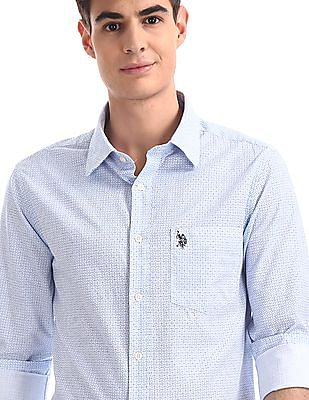 U.S. Polo Assn. Blue Tailored Regular Fit Printed Shirt