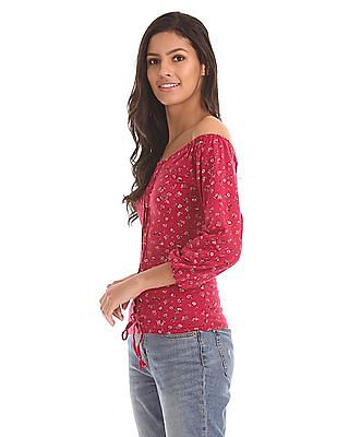 Aeropostale Floral Print Lace Up Front Top