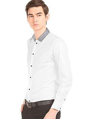 Arrow Newyork Mesh Collar French Placket Shirt