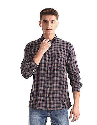 Ruggers Blue Mitered Cuff Check Shirt