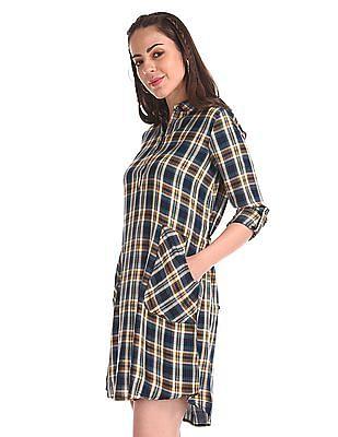 Cherokee Tie Up Waist Check Shirt Dress