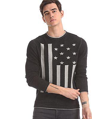 U.S. Polo Assn. Denim Co. Black Flag Pattern Crew Neck Sweater