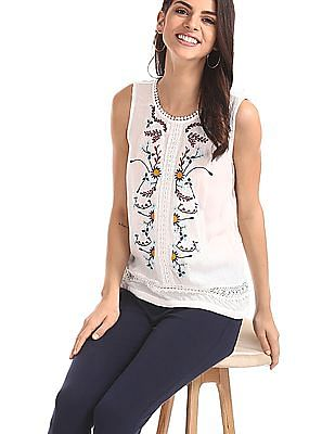 SUGR White Embroidered Sleeveless Top
