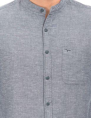 Flying Machine Mandarin Collar Chambray Shirt