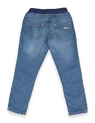 FM Boys Boys Elasticized Waist Stone Wash Jeans