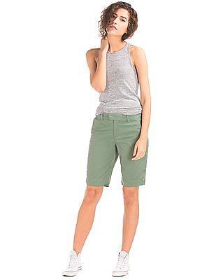 GAP Women Green Stretch Twill Bermuda Shorts