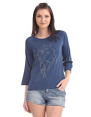 U.S. Polo Assn. Women Long Sleeve Stud Embellished T-Shirt