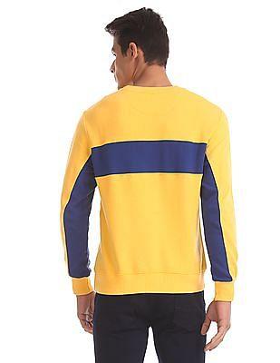 U.S. Polo Assn. Yellow Colour Block Panelled Sweatshirt