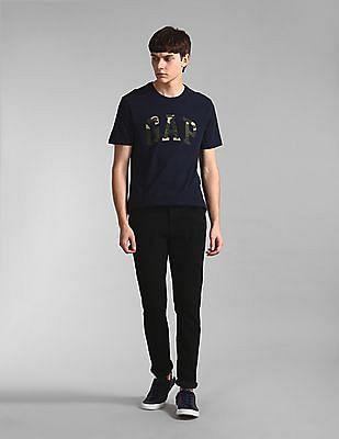 GAP Blue Camo Print Logo Crew Neck T-Shirt