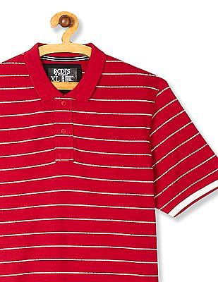 Roots by Ruggers Red Short Sleeve Striped Polo Shirt