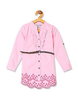 Cherokee Girls Ruffle Trim Embroidered Tunic