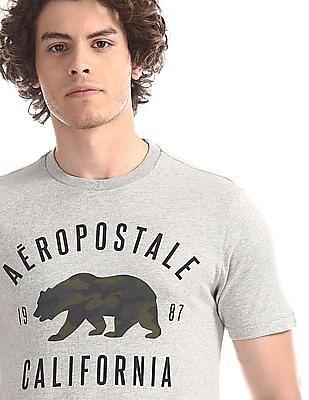 Aeropostale Grey Regular Fit Heathered T-Shirt