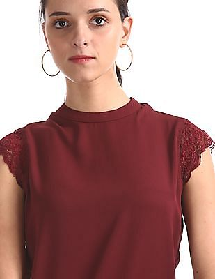 Elle Studio Red Lace Cap Sleeve Solid Top