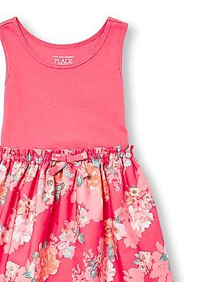 The Children's Place Toddler Girl Sleeveless Floral Print Mix Fabric Dress