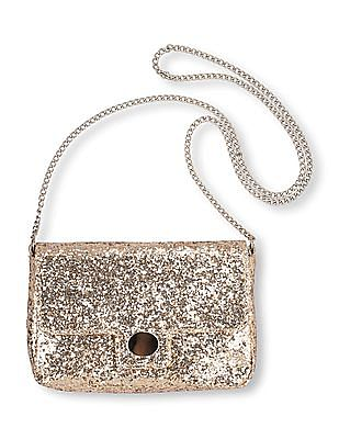 The Children's Place Girls Gold Chunky Glitter Snap Front Bag