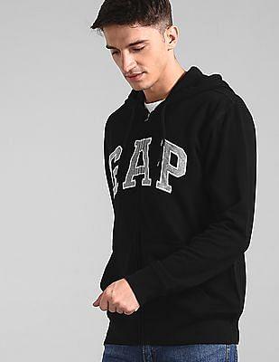 GAP Men Black Hooded Logo Sweatshirt