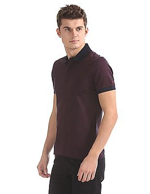 Izod Textured Collar Patterned Polo Shirt