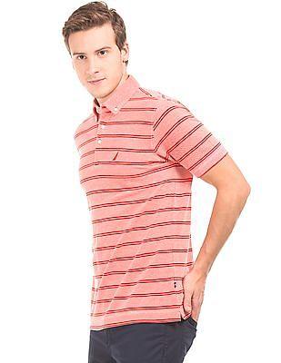 Nautica Striped Button Down Polo Shirt