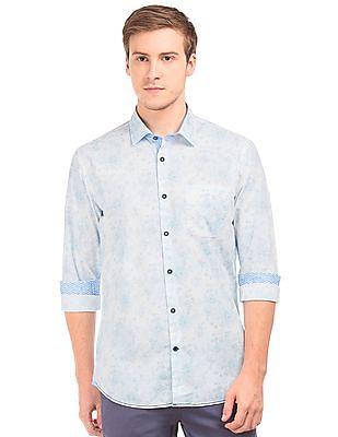 Arvind Kent Collar Floral Print Shirt