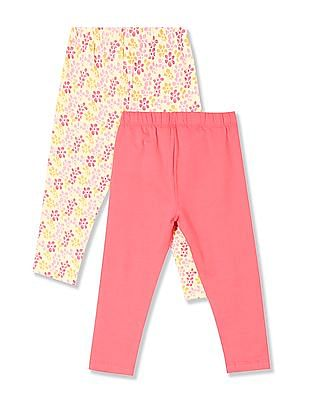 Donuts Girls Cotton Stretch Leggings - Pack Of 2
