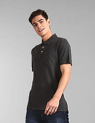 GAP Grey Vintage Slub Jersey Polo Shirt