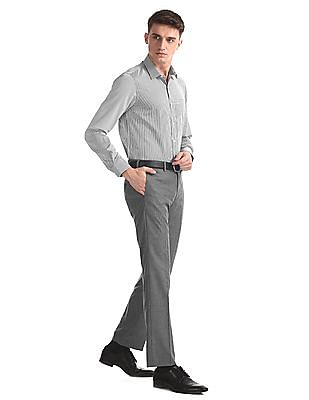 Excalibur Grey Classic Regular Fit Patterned Trousers