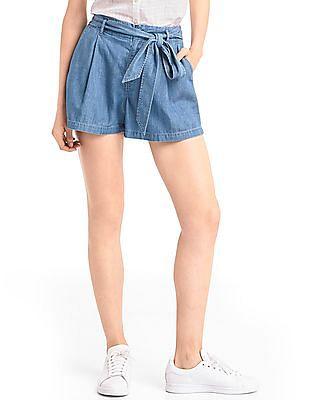GAP Women Blue Easy Fit Washed Denim Shorts