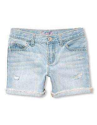 The Children's Place Girls Rolled Hem Washed Denim Shorts