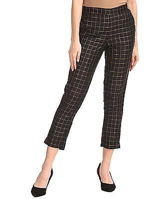 Anahi Black Semi Elasticized Waist Check Pants