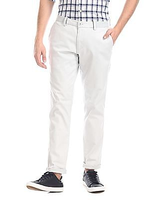 Ruggers Grey Tapered Fit Solid Trousers