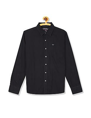 Flying Machine Spread Collar Solid Shirt