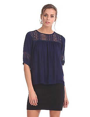 Cherokee Lace Insert Woven Top