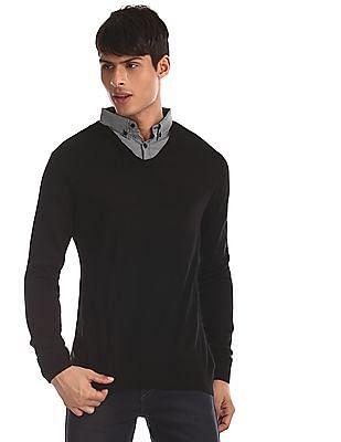 Ruggers Black Button Down Collar Flat Knit Sweater