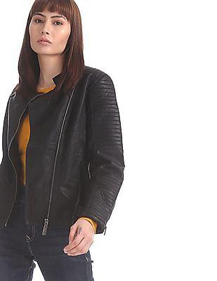 U.S. Polo Assn. Women Black Asymmetric Zipper Solid Biker Jacket