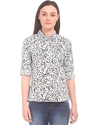 U.S. Polo Assn. Women Floral Printed Pop-Over Shirt