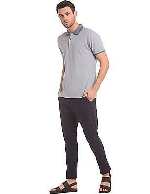 True Blue Patterned Knit Slim Fit Polo Shirt