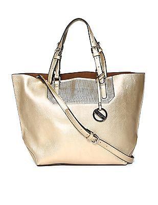 U.S. Polo Assn. Women Zip Pouch Cutwork Tote Bag
