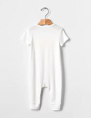 GAP Baby White Photo-Real Spring Animal One-piece