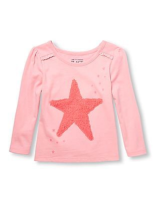 The Children's Place Toddler Girl Pink Long Sleeve Ruffle Shoulder Embellished Graphic Top
