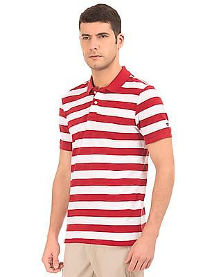 Arrow Sports Striped Pique Polo Shirt