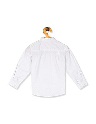 The Children's Place White Toddler Boy Long Sleeve Band Collar Printed Shirt