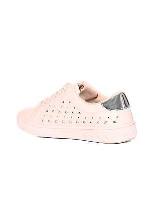 Stride Pink Low Top Laser Cut Sneakers