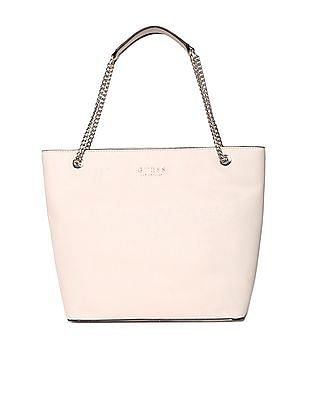 GUESS Linked Metallic Chain Solid Tote Bag
