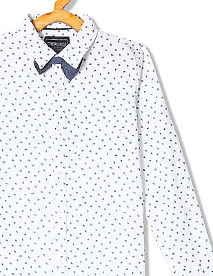 Cherokee Boys Bow Tie Printed Shirt