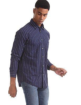 Aeropostale Blue Round Cuff Vertical Stripe Shirt